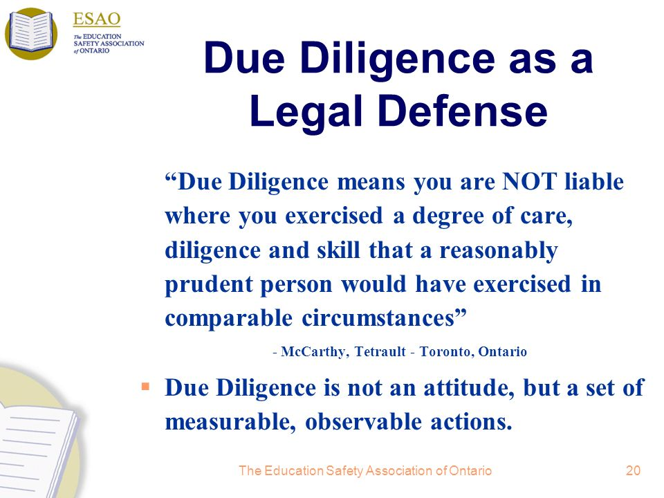 Due Diligence as a Legal Defense