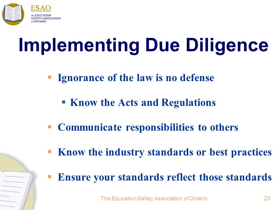 Implementing Due Diligence