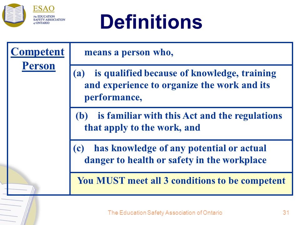 You MUST meet all 3 conditions to be competent