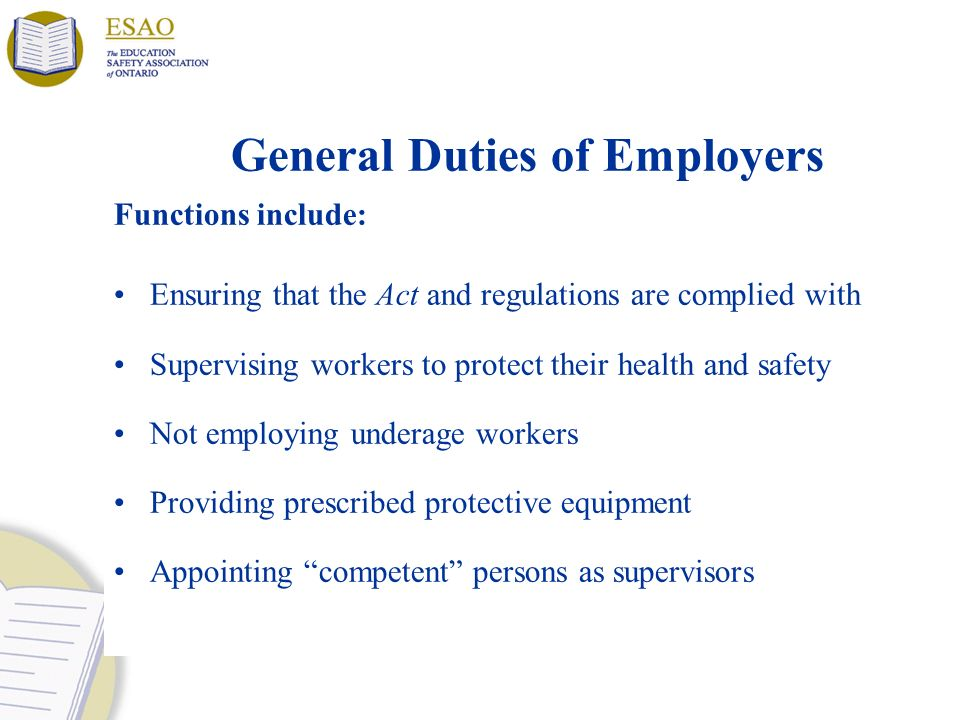 General Duties of Employers