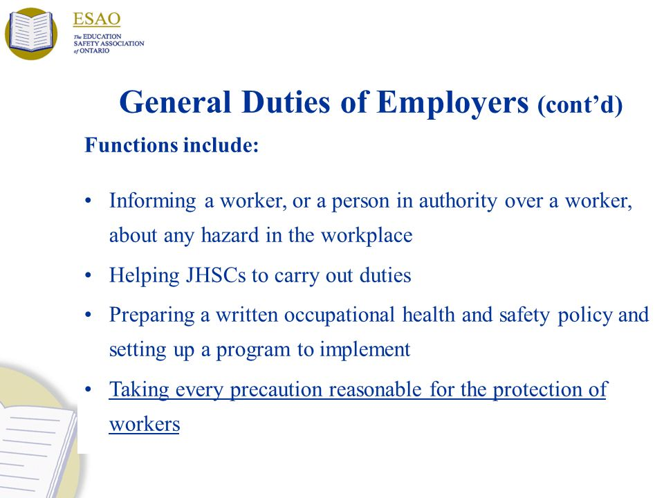 General Duties of Employers (cont'd)