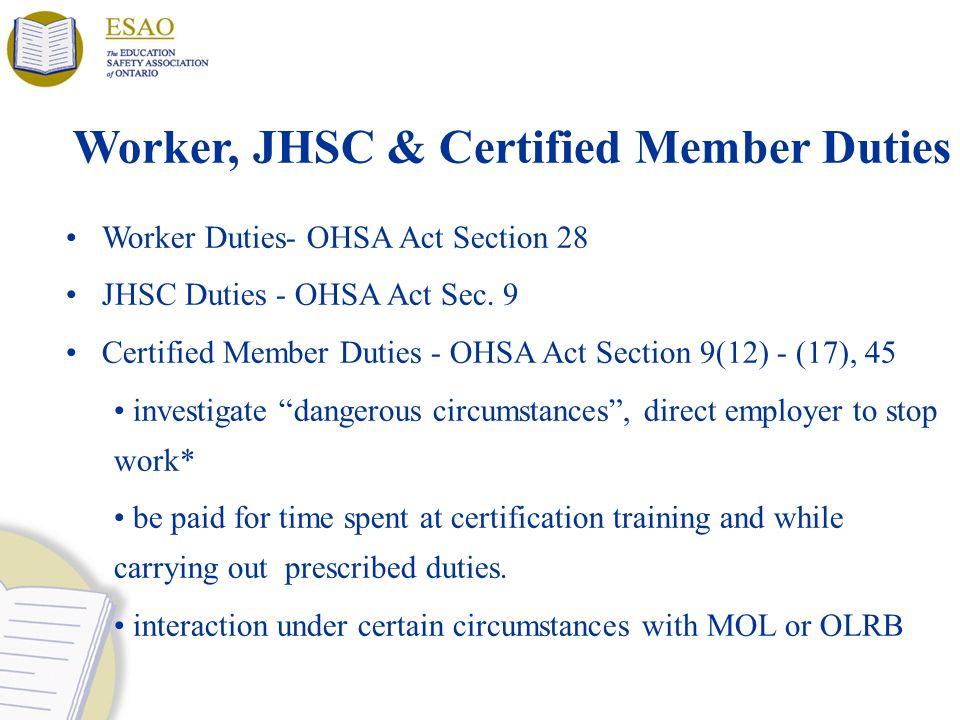 Worker, JHSC & Certified Member Duties