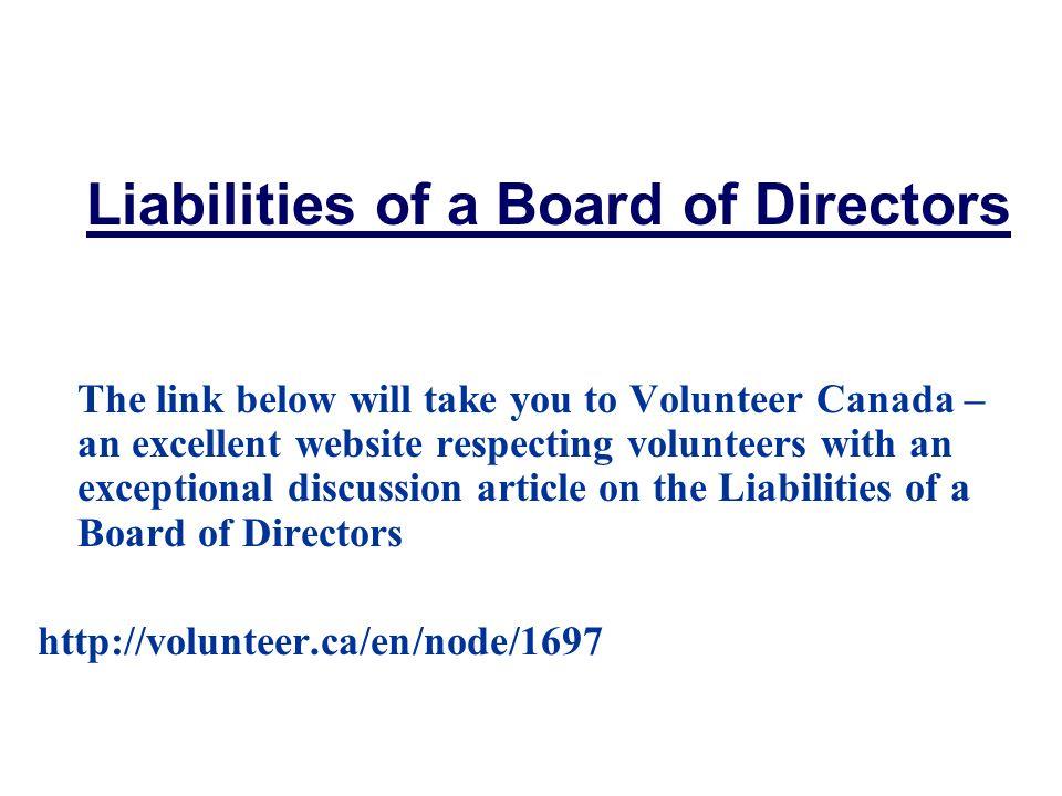 Liabilities of a Board of Directors