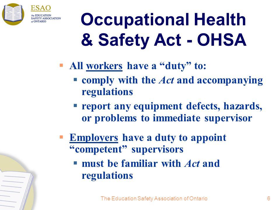 Occupational Health & Safety Act - OHSA