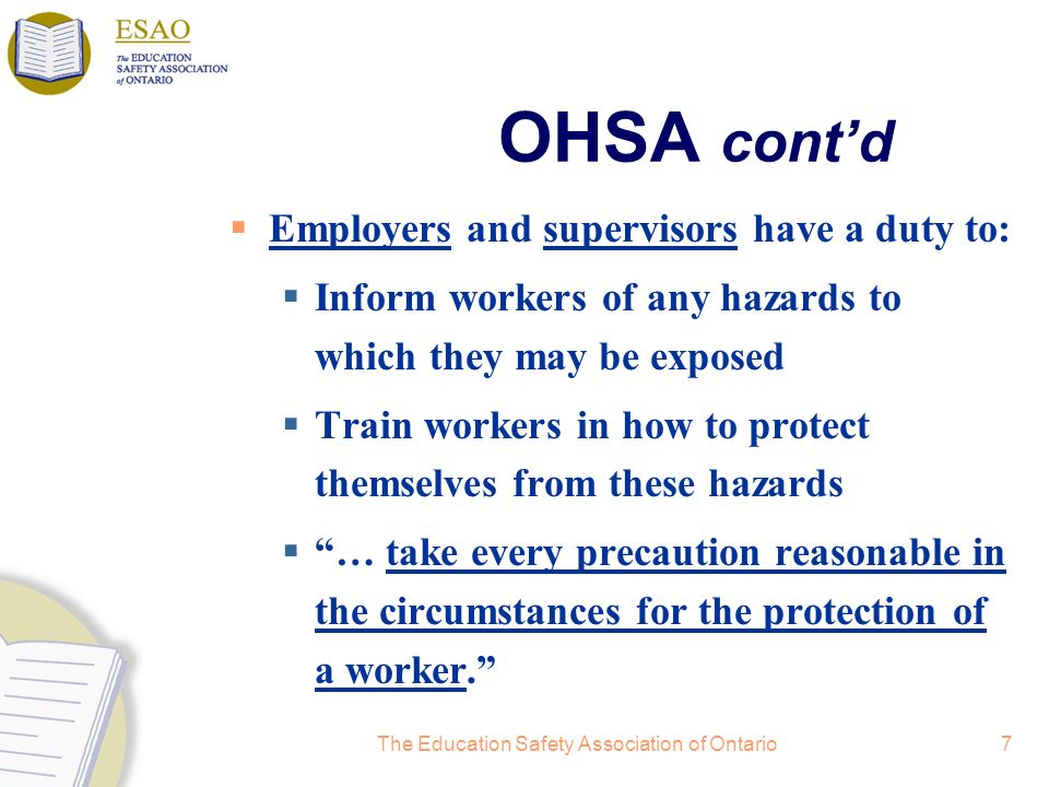 The Education Safety Association of Ontario