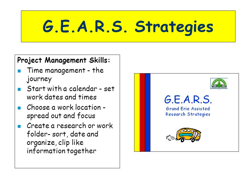 G.E.A.R.S. Strategies Project Management Skills: