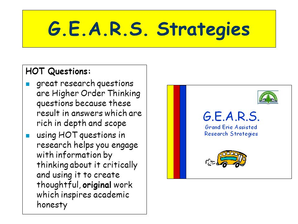 G.E.A.R.S. Strategies HOT Questions: