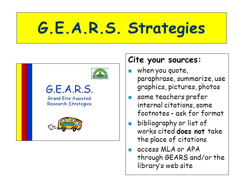 G.E.A.R.S. Strategies Cite your sources: