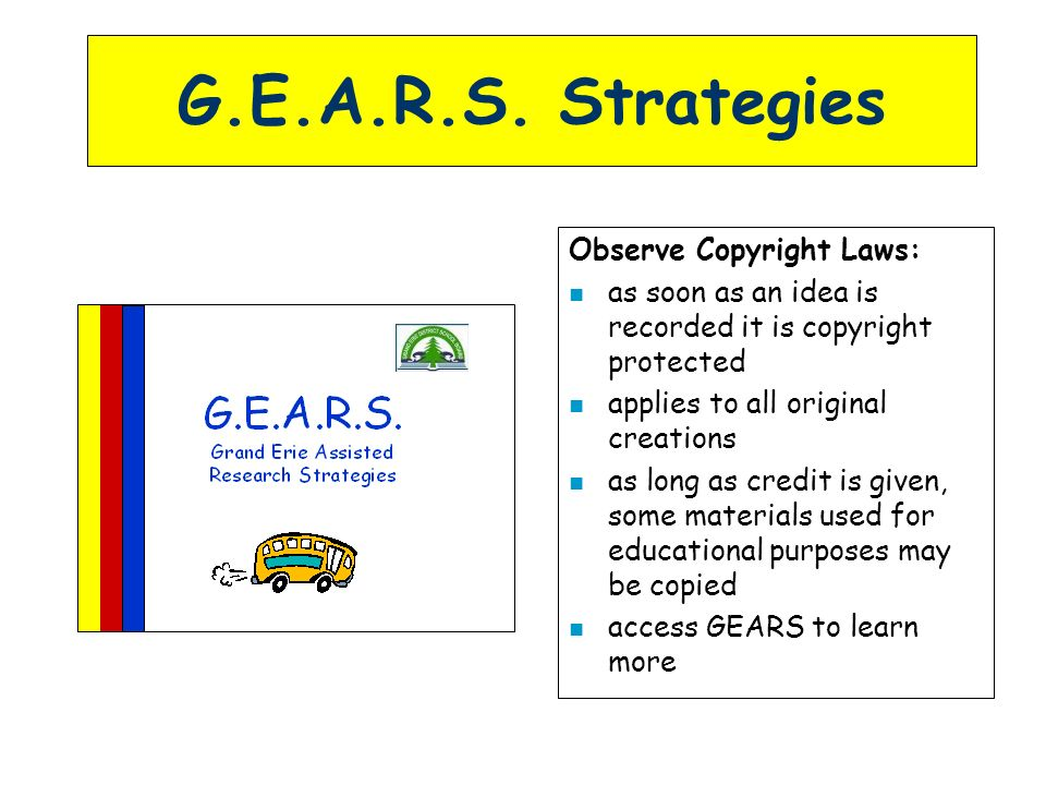 G.E.A.R.S. Strategies Observe Copyright Laws: