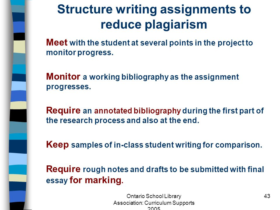 Structure writing assignments to reduce plagiarism