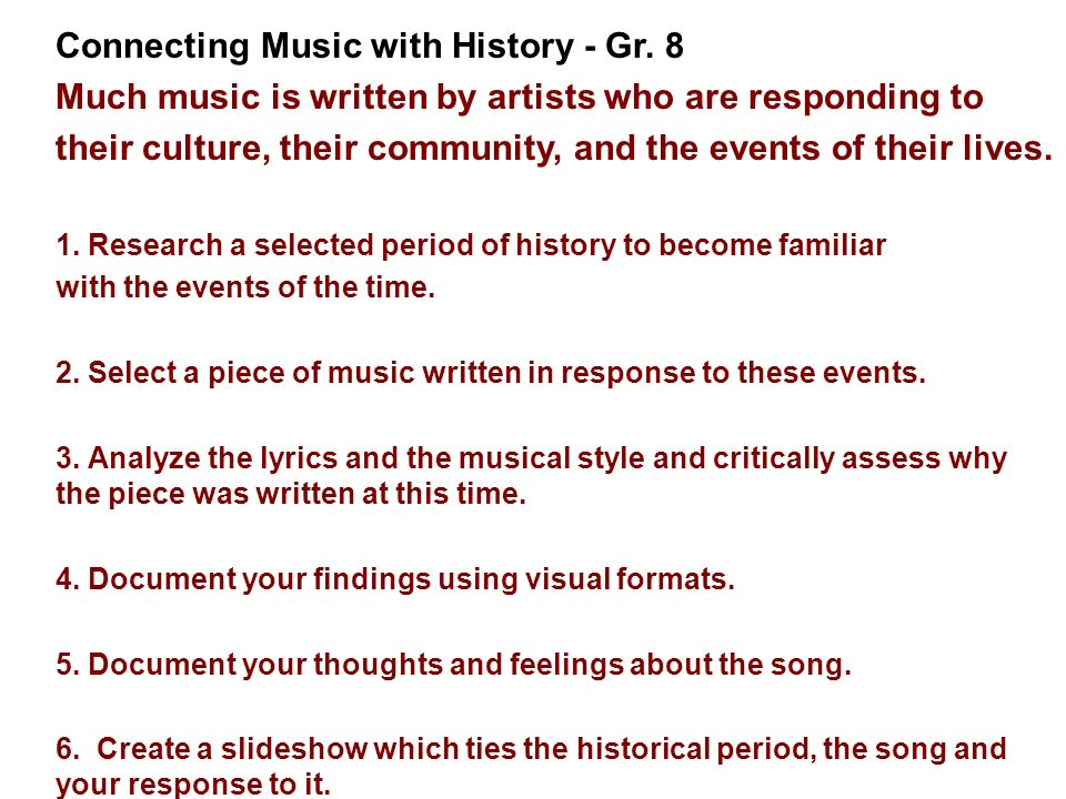 Connecting Music with History - Gr. 8