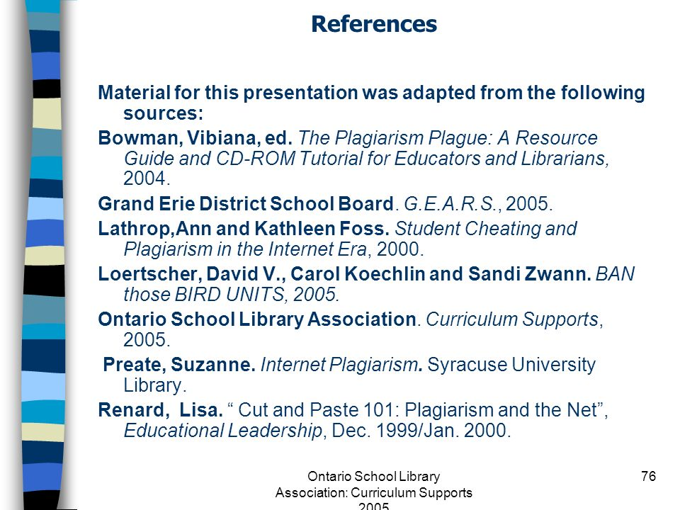 Ontario School Library Association: Curriculum Supports 2005