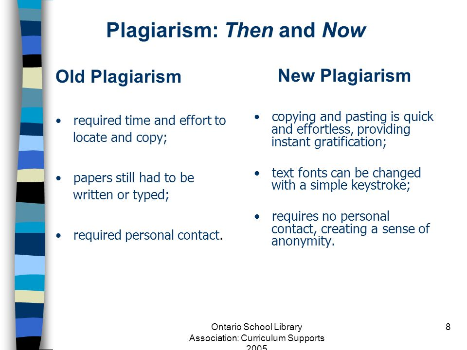Plagiarism: Then and Now