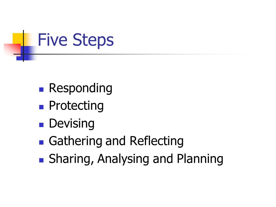 Five Steps Responding Protecting Devising Gathering and Reflecting