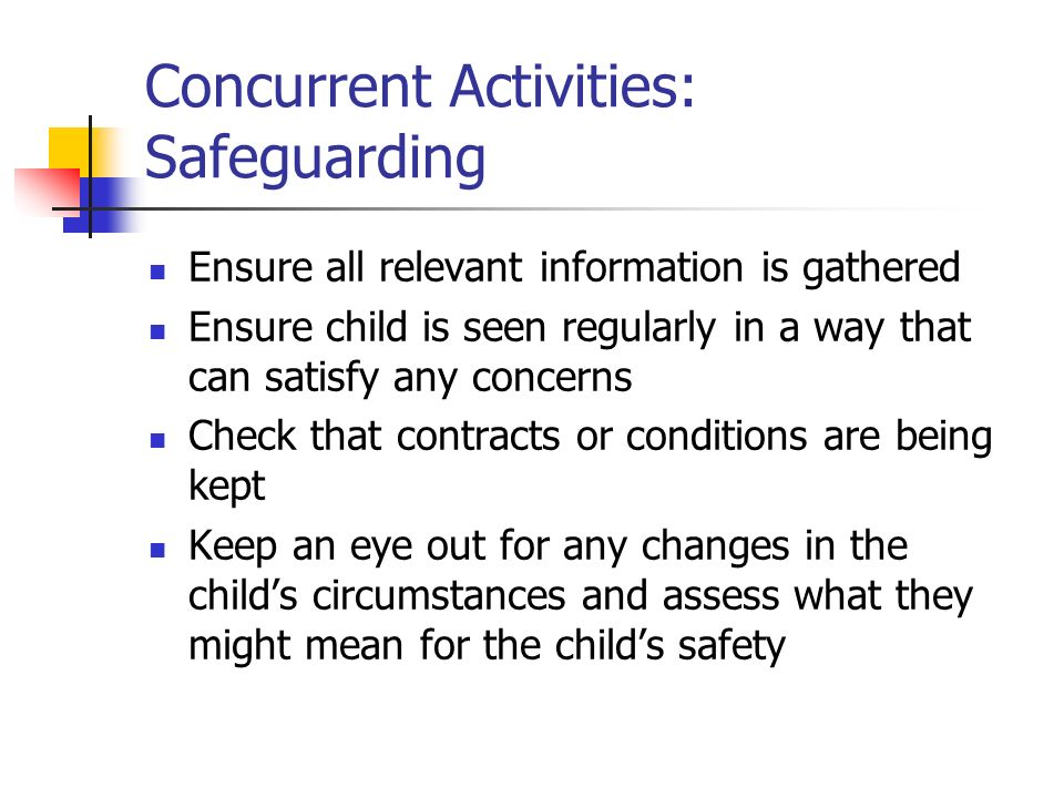 Concurrent Activities: Safeguarding