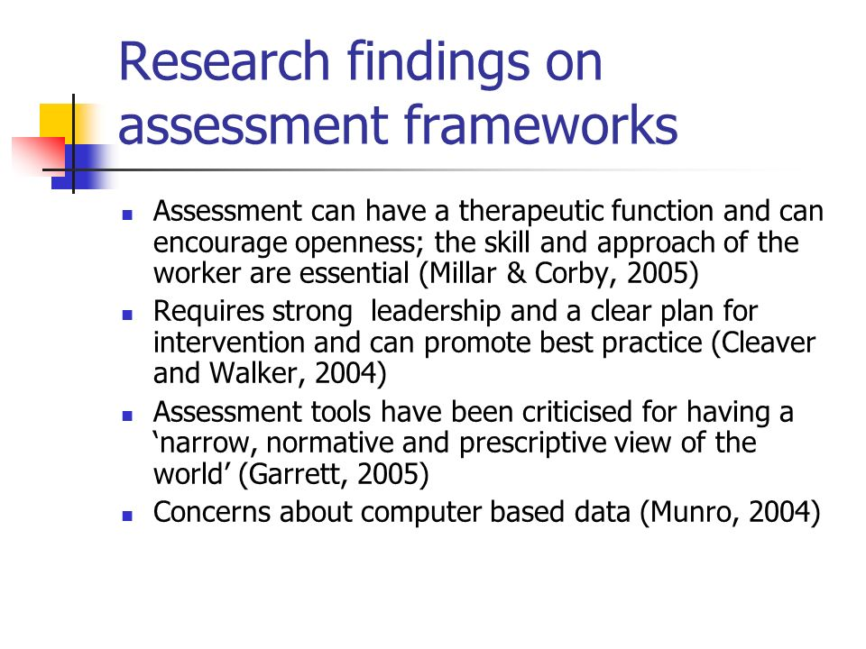 Research findings on assessment frameworks