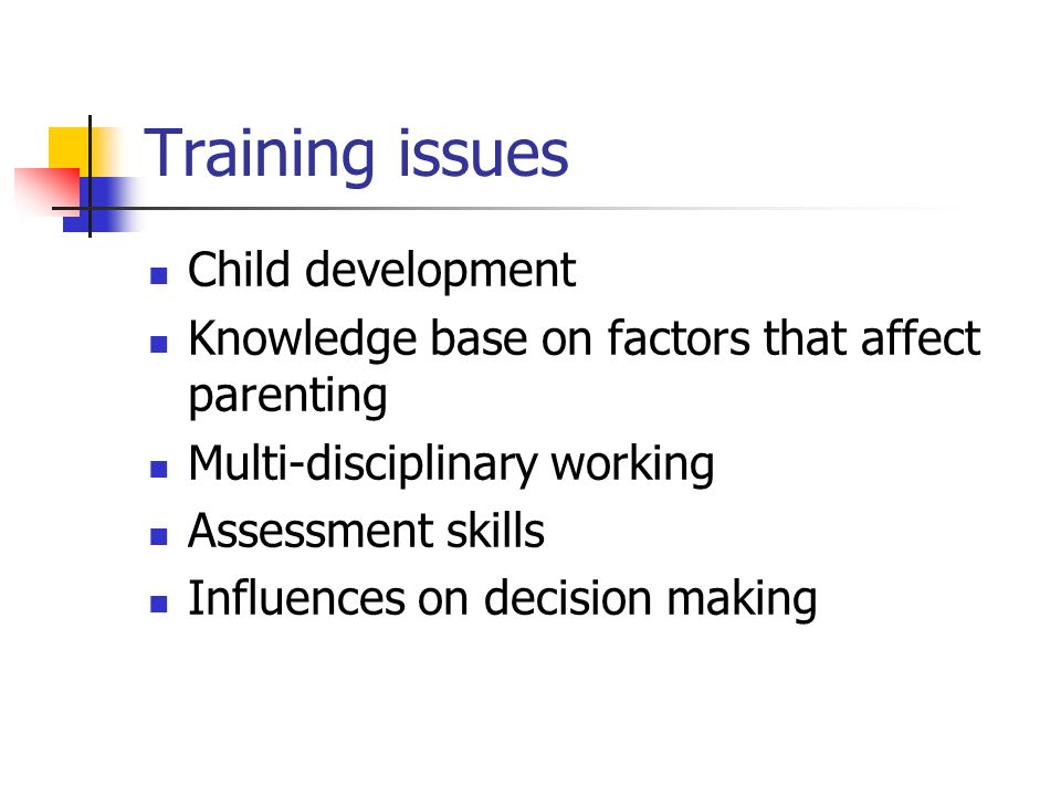 Training issues Child development