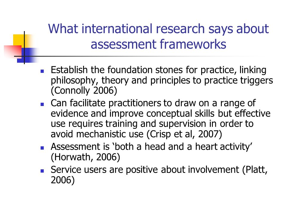 What international research says about assessment frameworks