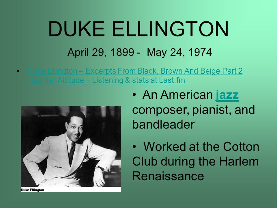 DUKE ELLINGTON April 29, May 24, 1974