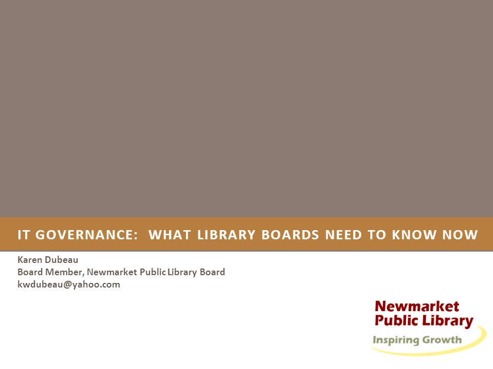 IT governance: What library boards need to know now