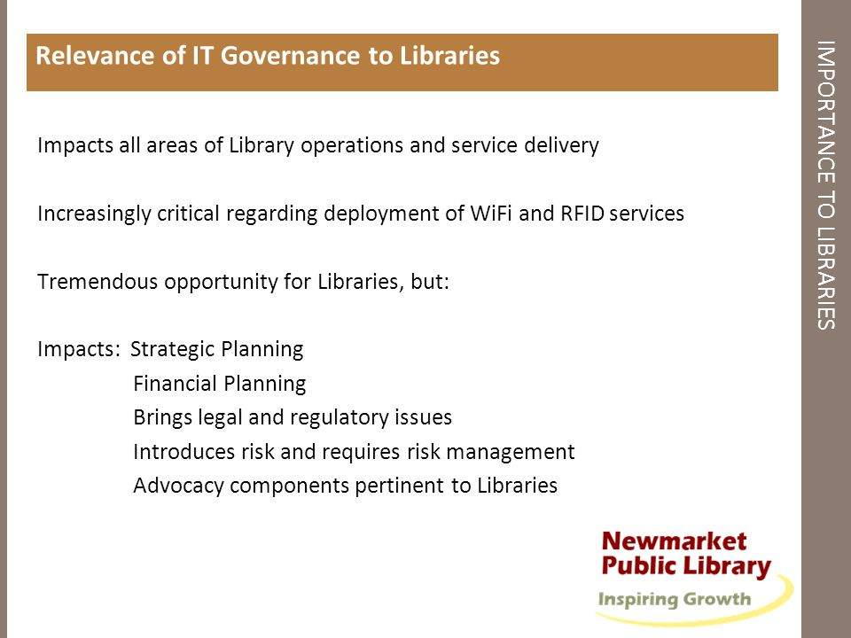 IMPORTANCE TO LIBRARIES