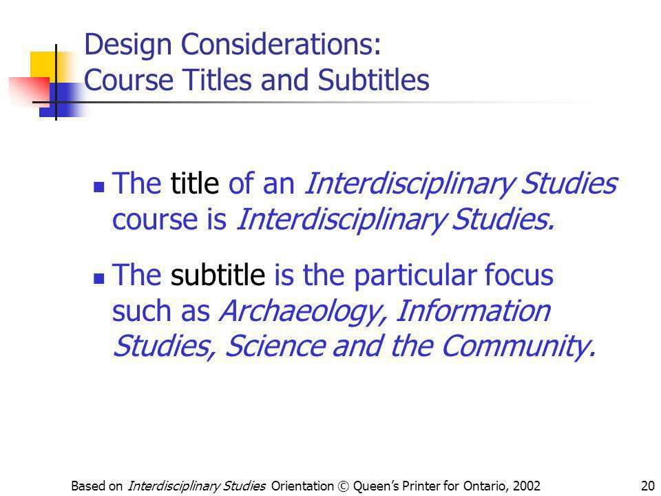 Design Considerations: Course Titles and Subtitles