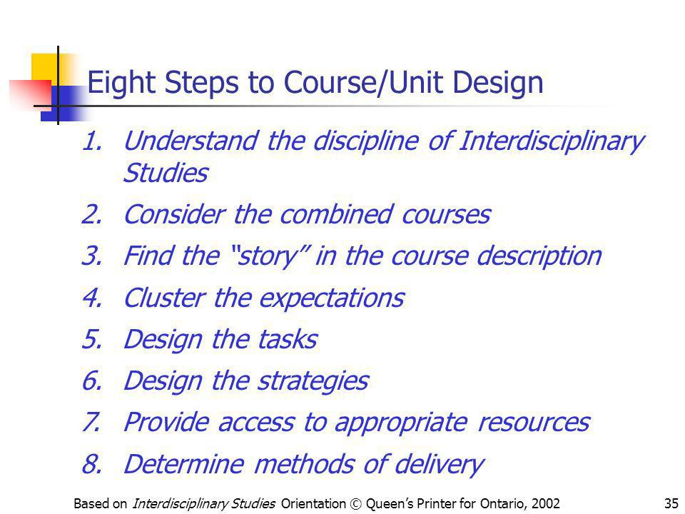 Eight Steps to Course/Unit Design