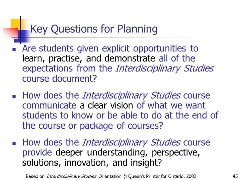 Key Questions for Planning