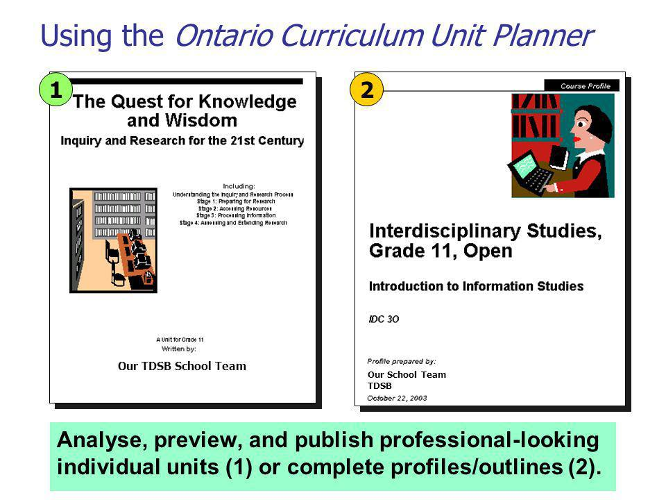 Using the Ontario Curriculum Unit Planner