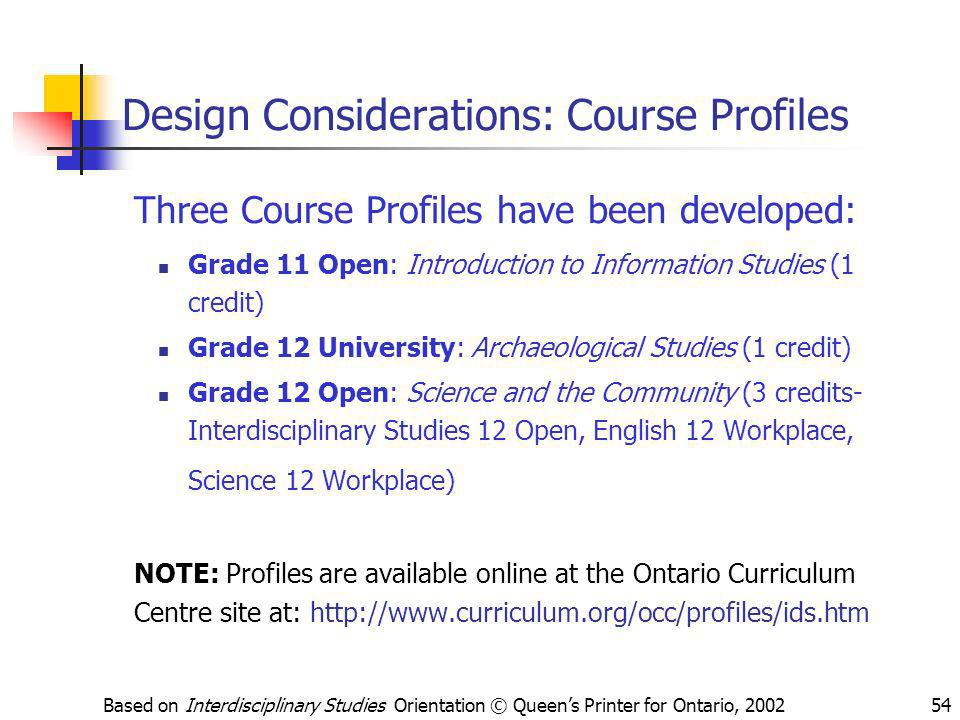 Design Considerations: Course Profiles