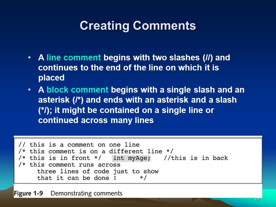 Creating Comments A line comment begins with two slashes (//) and continues to the end of the line on which it is placed.