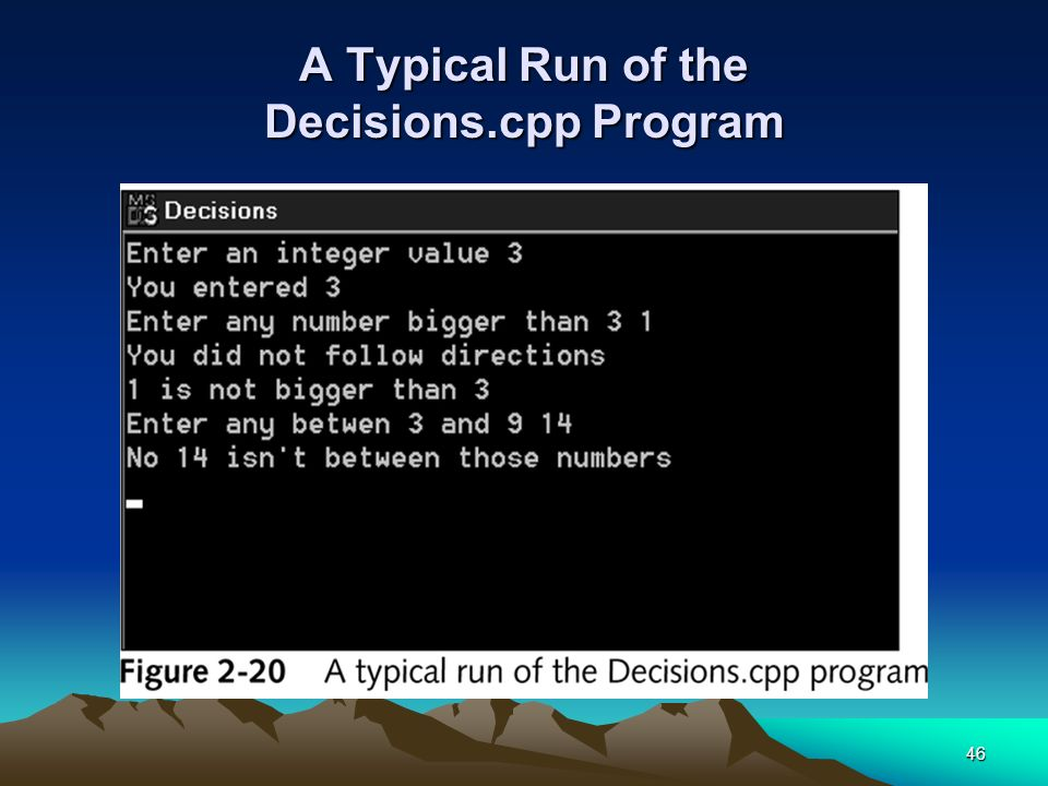 A Typical Run of the Decisions.cpp Program