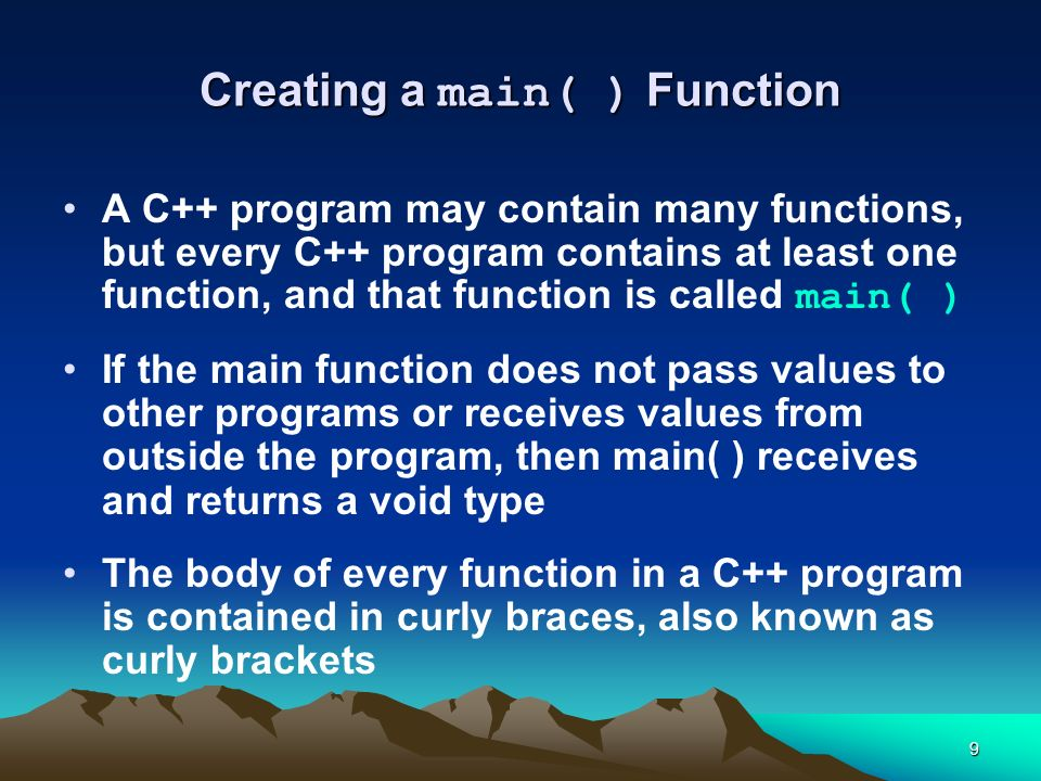 Creating a main( ) Function