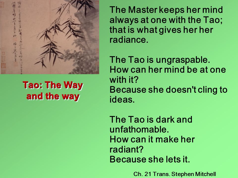 The Master keeps her mind always at one with the Tao; that is what gives her her radiance. The Tao is ungraspable. How can her mind be at one with it Because she doesn t cling to ideas. The Tao is dark and unfathomable. How can it make her radiant Because she lets it.