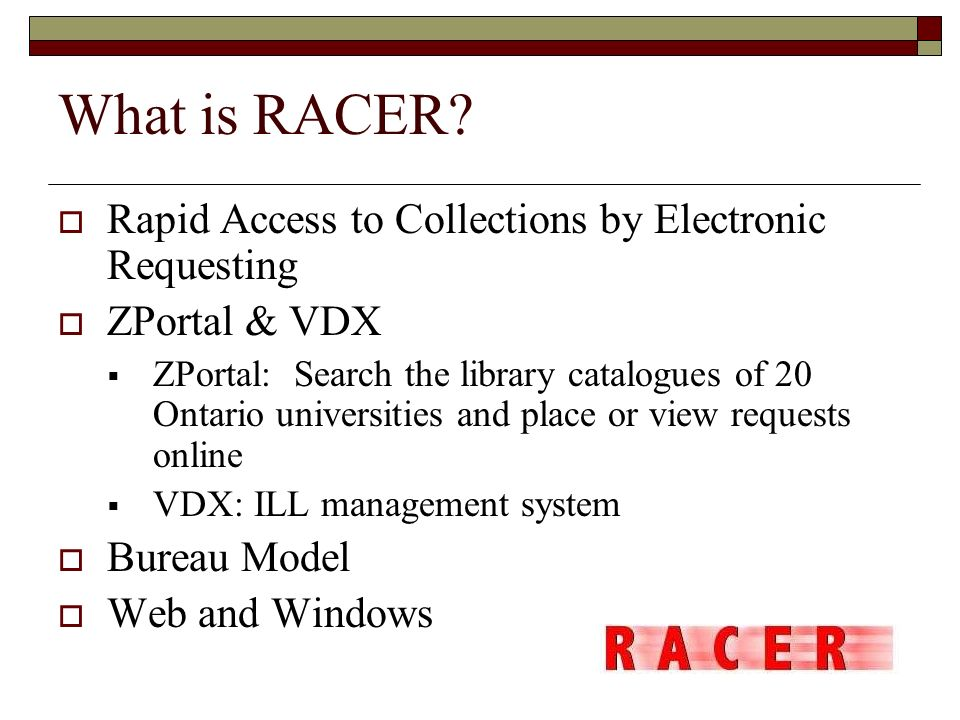 What is RACER Rapid Access to Collections by Electronic Requesting