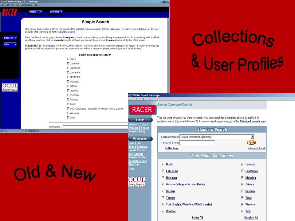 Collections & User Profiles Old & New