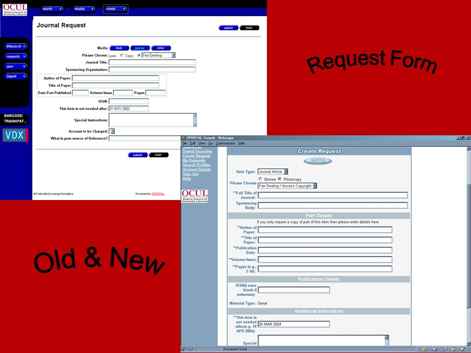 Request Form Old & New
