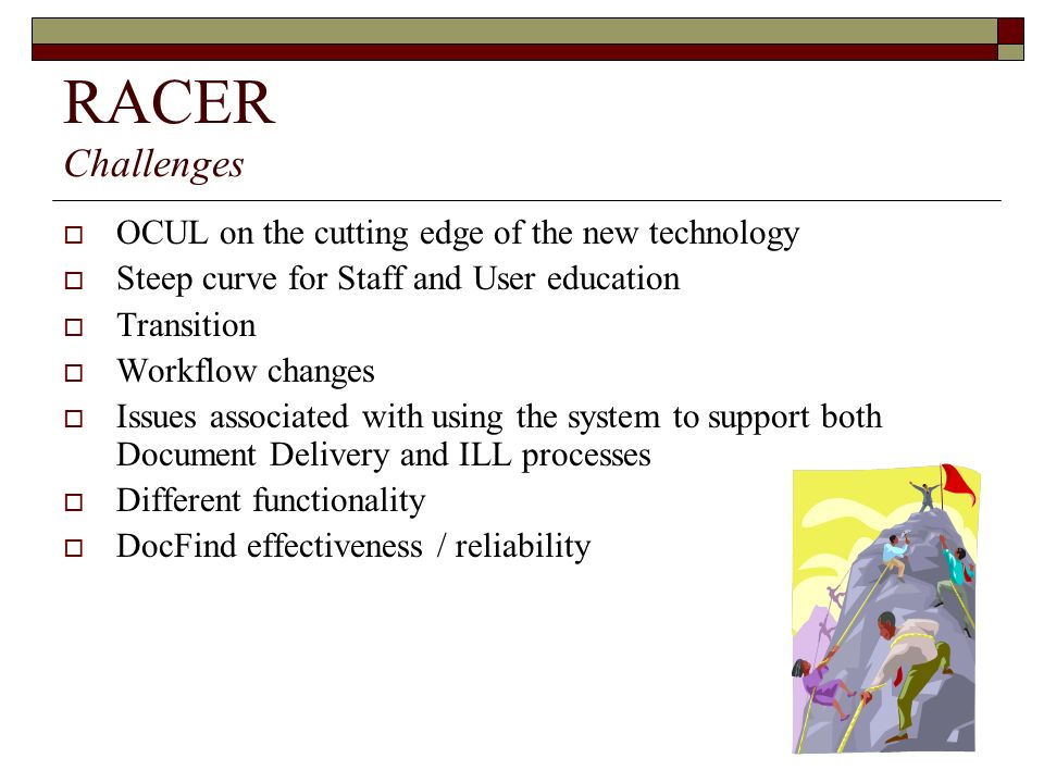RACER Challenges OCUL on the cutting edge of the new technology