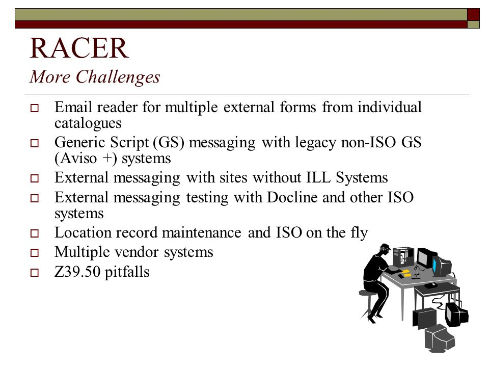 RACER More Challenges Email reader for multiple external forms from individual catalogues.