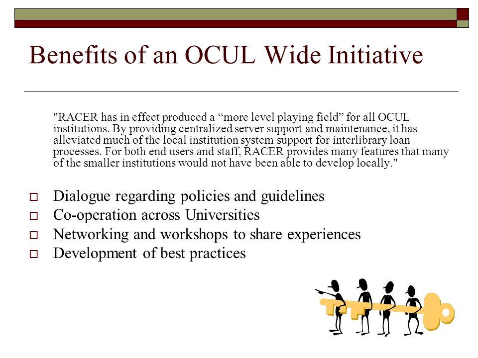 Benefits of an OCUL Wide Initiative