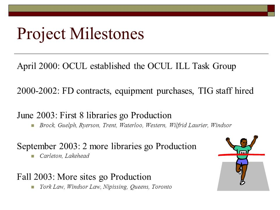 Project Milestones April 2000: OCUL established the OCUL ILL Task Group. 2000-2002: FD contracts, equipment purchases, TIG staff hired.