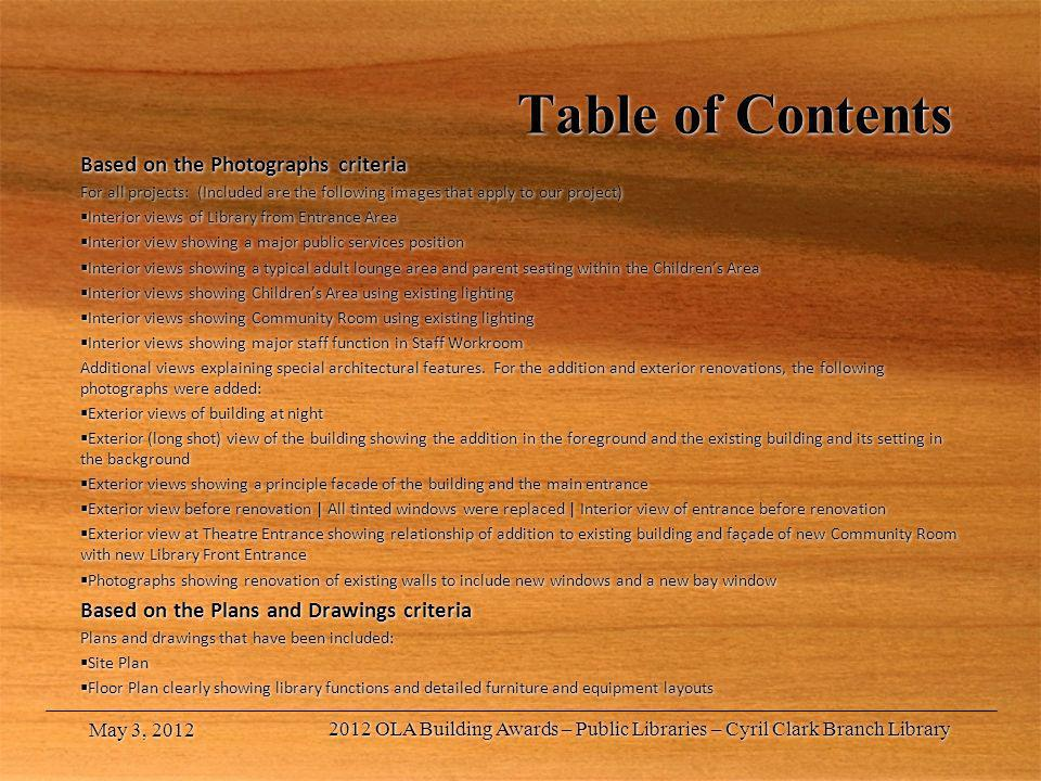Table of Contents Based on the Photographs criteria