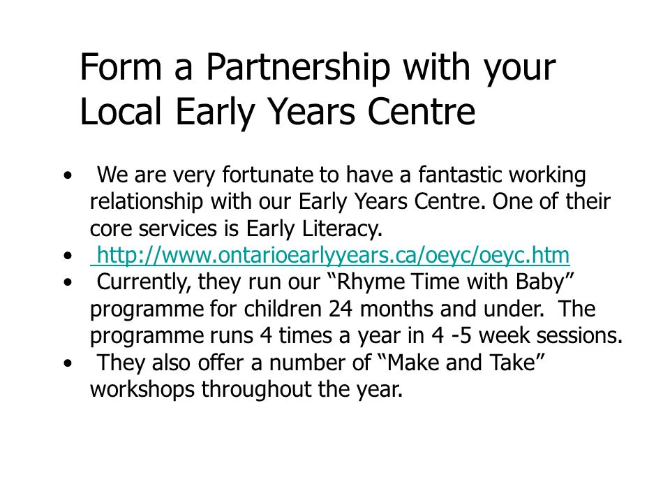 Form a Partnership with your Local Early Years Centre