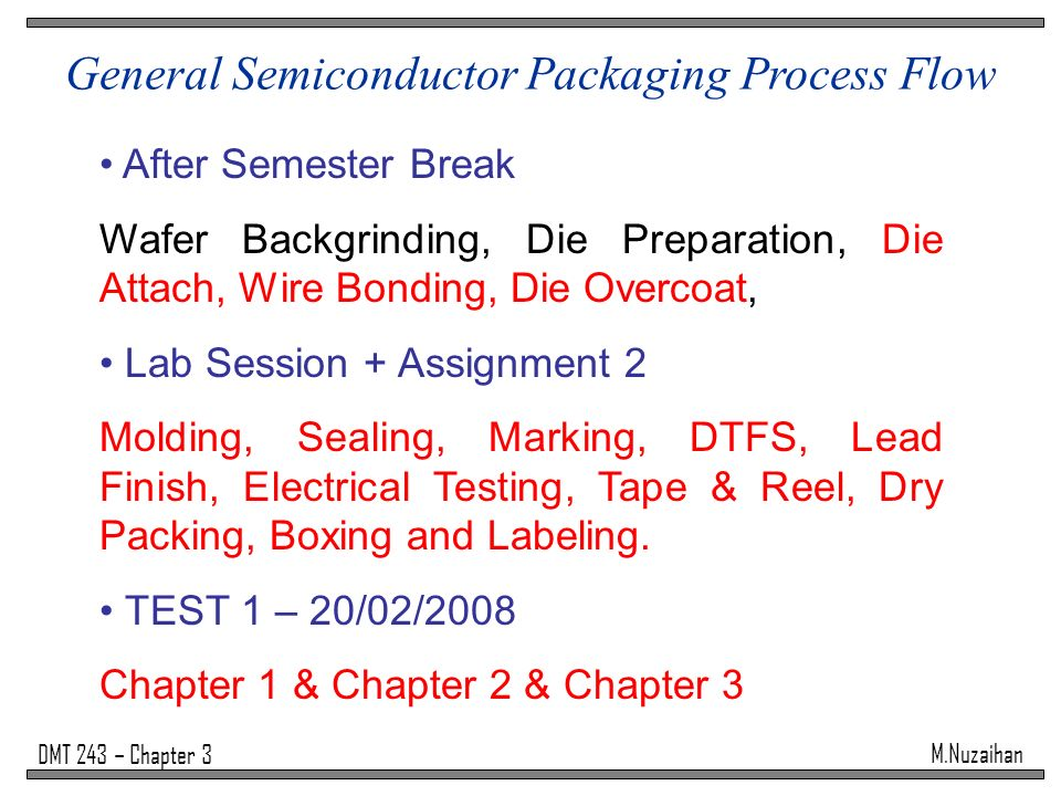 Semiconductor Test Labs : General semiconductor packaging process flow ppt video