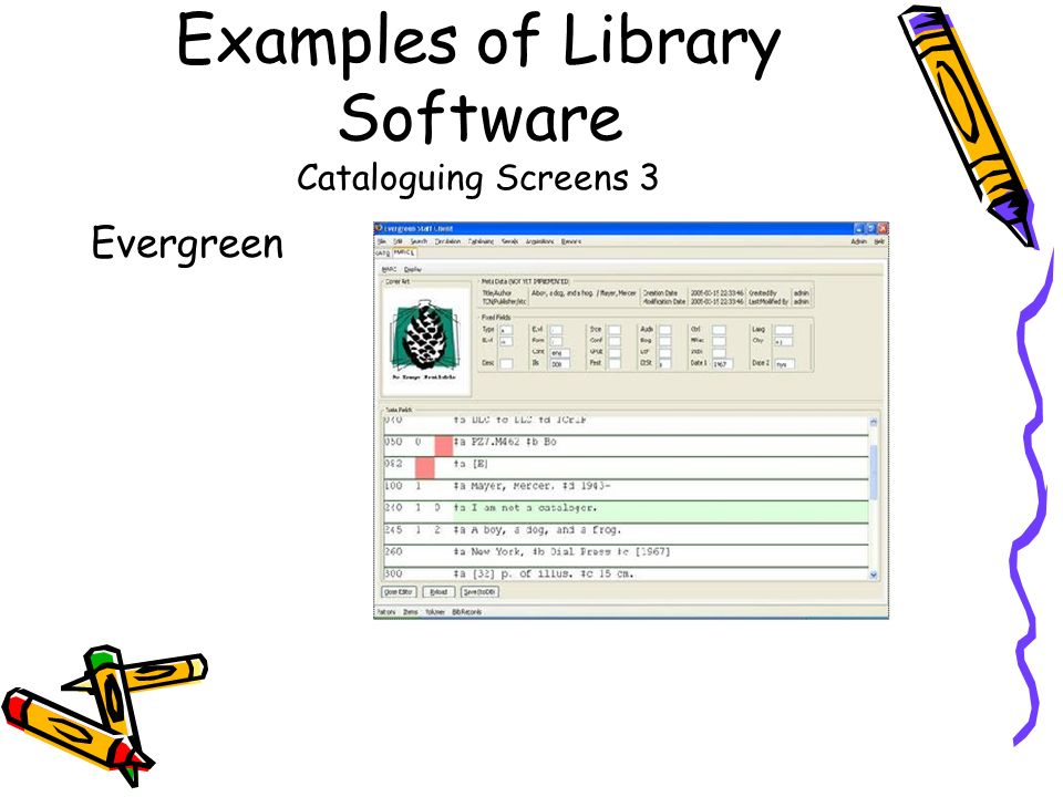 Examples of Library Software Cataloguing Screens 3