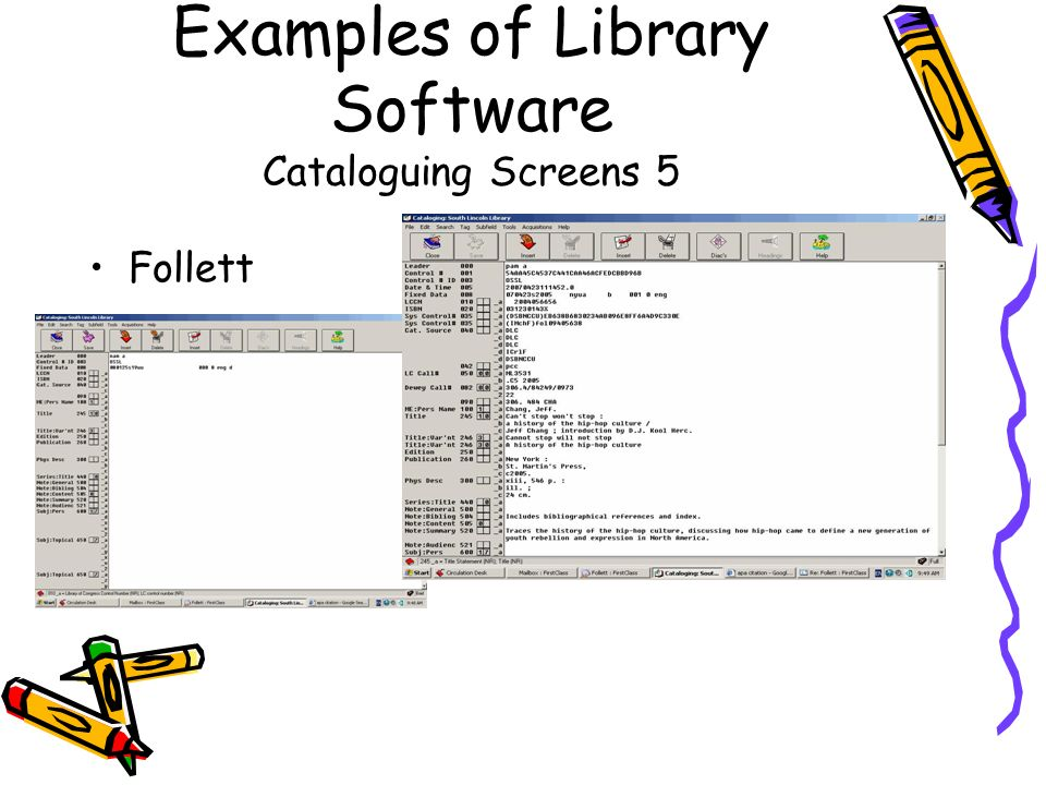 Examples of Library Software Cataloguing Screens 5