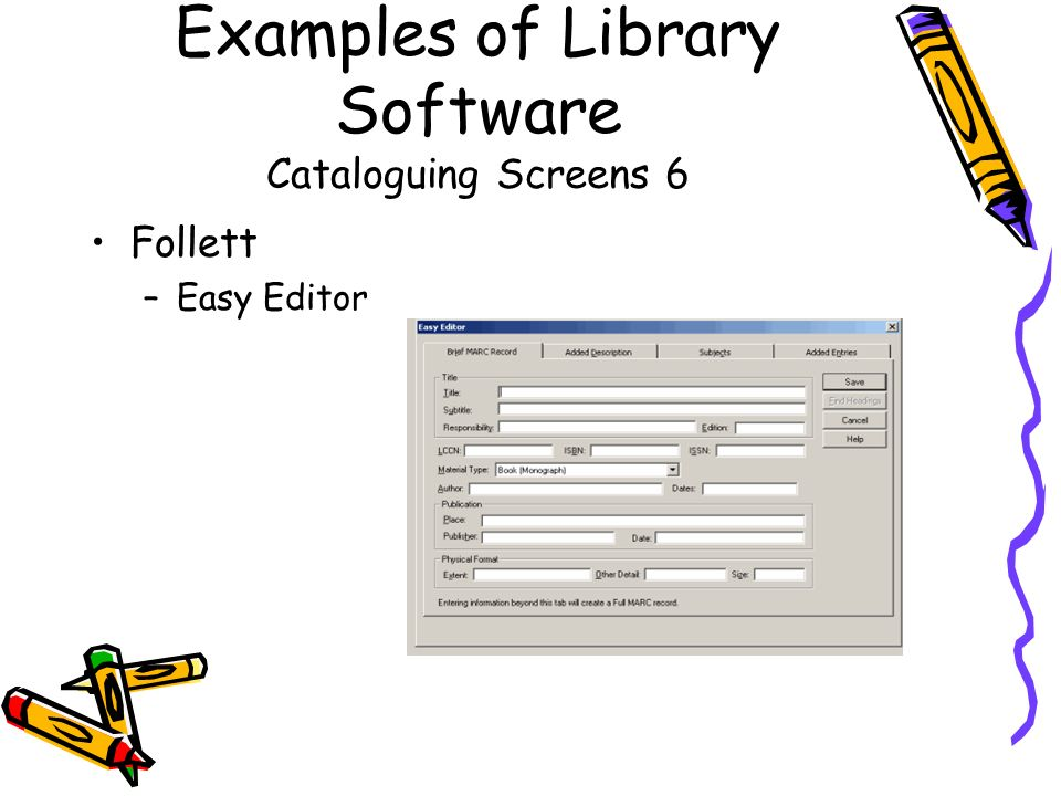 Examples of Library Software Cataloguing Screens 6