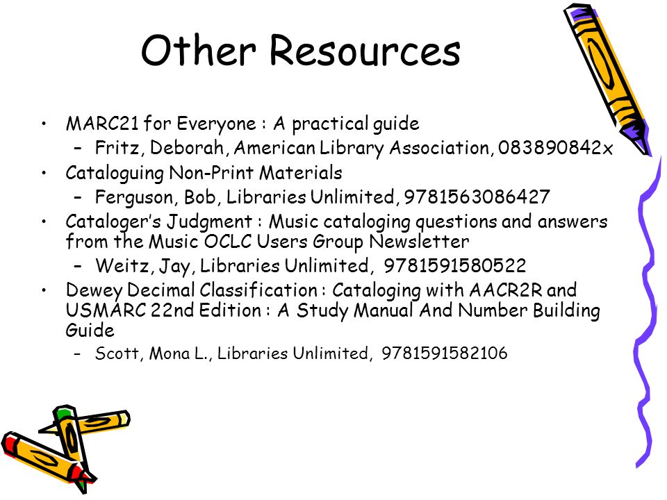 Other Resources MARC21 for Everyone : A practical guide