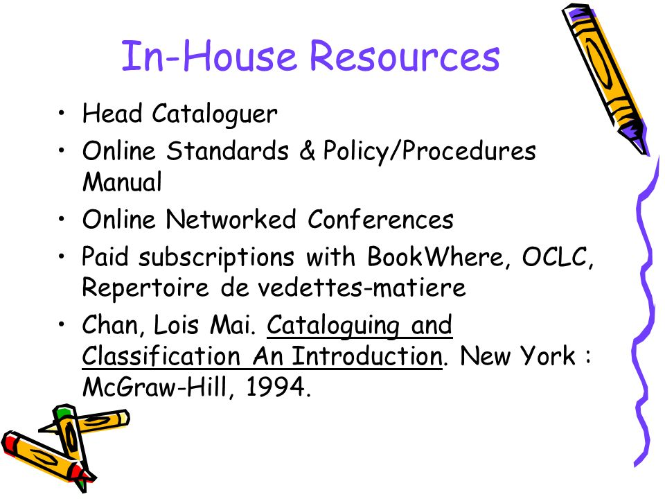 In-House Resources Head Cataloguer