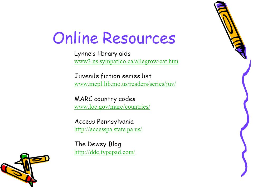 Online Resources Lynne's library aids